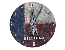 Montana West Texas Oil Field Wall Clock Oil Derrick Western Home Decoration