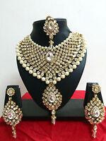 Indian Bollywood Diamante Kundan Pearl Gold Tone Bridal Fashion Jewelry Set