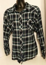 Wrangler Western Flannel Shirt Green Blue Plaid Long Sleeve Pearl Snap Mens 3XL