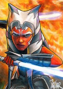 STAR WARS Clone Wars Jedi AHSOKA Tano SKETCH Card PRINT Open Edition