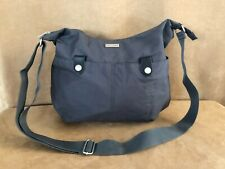 Baggallini black shoulder travel bag purse airline strap nylon charcoal hobo