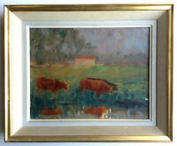 Antique Oil Impressionist Painting Cows at the pond by Marcel CASSIUS-VIGNAU