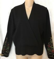 St. John Evening Top Black Knit Christmas Red Green And Gold Sleeve Size M