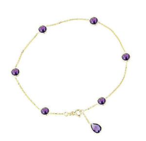14K Yellow Gold Gemstone Anklet With Round and Pear Shaped Amethysts 10 Inches