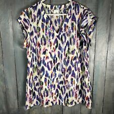 CAbi Womens Sz M #5027 Plume Top Multicolor Rainbow Feather Print Blouse