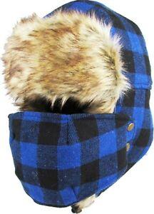 Buffalo Plaid Aviator Trapper With Mask Hat Winter Cap Ski Warm Fur Cap