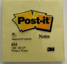 3M POST-IT Notes adhésives 76 mm x 76 mm bloc de 100 feuilles jaune NEUF