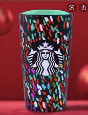 STARBUCKS Holiday Confetti Ceramic Travel Tumbler Christmas Green Mug 12 Oz NEW