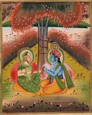 Krishna Radha Painting Handmade Hindu Religious God Goddess Watercolor Image Art