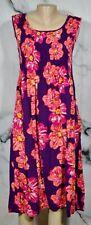 CROFT & BARROW Purple Orange Pink Floral Print Sleeveless Dress Small Smocked