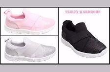Zapatillas de Mujer Gimnasio Zapatos Cómodo Purpurina Estirar Ocasional