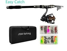 Telescopic Fishing Rod and Reel Combo FULL KIT Pole Case Bag with Lures Jig Hook