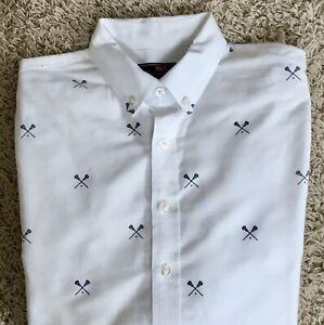 Vineyard Vines Whale Shirt Boy's White & Navy Lacrosse Button Up Shirt Sz Large