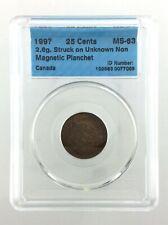 199? Canada Error 25 Cents Quarter Struck Wrong Planchet CCCS Mint State 63 M507