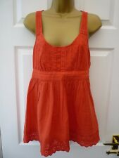 NEW LOOK Ladies Size 10 Orange Embroidery Anglaise Sleeveless Cotton Tunic Top