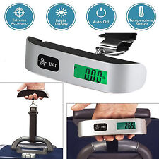 LCD Electronic Scale 50kg Hand Carry Luggage Digital Weight Device Thermometer