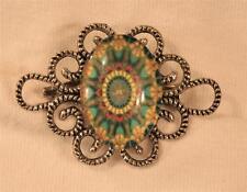 Kaleidoscope Cameo Silvertone Brooch Pin Lovely Roped Openwork Green Yellow
