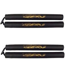 New 2 pcs Set Foam Nunchucks Dragon pattern Nunchakus w/Nylon Cord-BLACK 11""