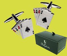 4 Aces Gemelos Acero Inoxidable Regalo para Hombre Joyería Poker Cartas Fichas de Juego