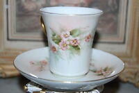 SUPERB HAVILAND FRENCH LIMOGES HAND PAINTED FLOWERS LARGE CHOCOLATE CUP & SAUCER