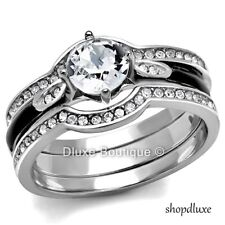 Steel Wedding Ring Set Women'S Size 5-11 1.75 Ct Round Cut Aaa Cz Stainless