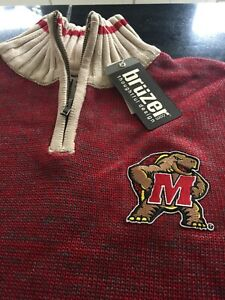 MENS MARYLAND TERRAPINS TERPS Bruzer Red 1/4 Zip  Sweater 2XL NWT $89.99