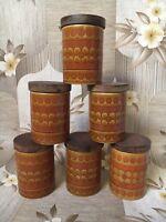 Retro Hornsea Saffron Spice Jars Lidded
