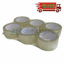 "6 ROLLS OF STRONG CLEAR PACKING TAPE - 48mm x 66m (2"") - Big Rolls Parcel Tape"