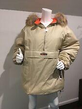 Beige DKNY Medium Heavy Pullover Jacket. Gorgeous Coyote Fur w/ Draw Strings