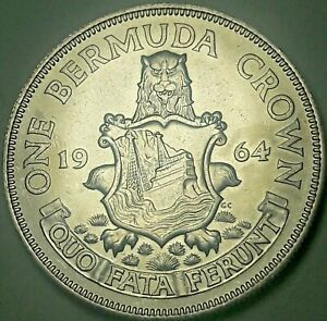 1964 BERMUDA 1 ONE CROWN SILVER NICE LUSTER UNC CHOICE BU BLAST WHITE GEM (DR)