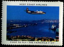 First to fly the FAIRCHILD F-27 ~WEST COAST AIRLINES~ Vibrant Old Poster Stamp