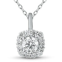 "5/8ct Cushion Halo Diamond Pendant 14k White Gold & 18"" Chain"