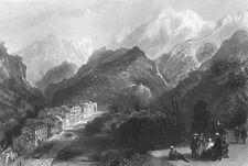 France PYRENEES EAUX BONNES COMMUNE GOURETTE SKI TOWN ~ 1865 Art Print Engraving