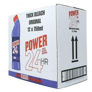 Power 24 Hour Thick Bleach Original Kill 99.9% - Pack of 12 x 750ml