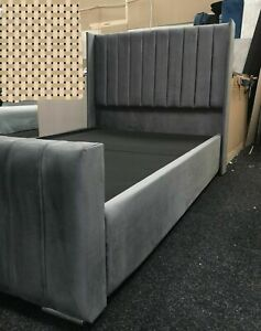 WING BACK  PLUSH VELVET  STORAGE & NON STORAGE  BED FRAME WITH FREE BASE BOARD
