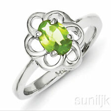 Anillos de joyería con gemas verdes naturales de plata de ley