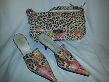 Loriblu shoes and bag set made in ITALY  Size 38 flowers leopard print Floral