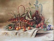 Erich SÄUBERLICH 1911, Gemälde Stillleben Obst mit Karaffe Öl auf Leinwand