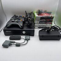 Microsoft Xbox 360 S Matte Black Model 1439 4GB Bundle W/ Network Adapter Games