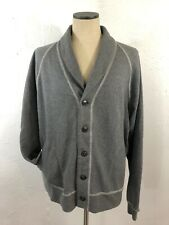 LL Bean Signature Mens 2XL Shawl Collar Cardigan Sweater 5 Button Gray Cotton