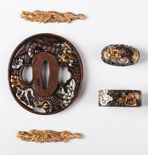 Dragon Gold Silver Plated Brass Plate Tsuba Kashira Fuchi Menuki For JP Sword
