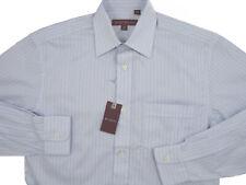 NEW $195 Hickey Freeman Dress Shirt! 16 Long (35)  White, Blue & Black Stripes