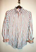 NEW Mens ROBERT GRAHAM Runway Blue/ Striped Hibiscus Button Down Shirt Large L