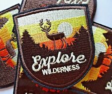 Explore Wilderness Embroidered Patch Badge Stag Deer Sunset Hike Nature Travel