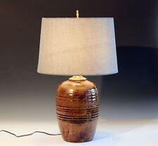 Vintage Studio Folk Southern? Country Pottery Lamp Signed 1970s