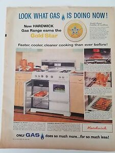 1959 Hardwick Gas Range Stove Gold Star White Oven Cooking Original Ad