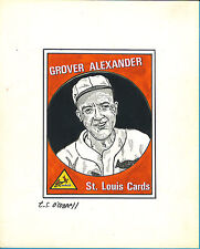 T.S. O'Connell Original Artwork -Unissued Baseball Greats - Grover Alexander