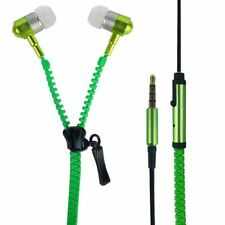 Handsfree Earphones Earbud with Mic Tangle Free Zip Style Stereo Sound Green