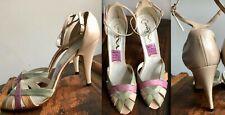 Vtg 80s Pink Green Orange Nina Spain Leather Super High Heels Shoes Sandals 10