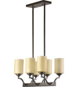 Quorum  Atwood 6 Light 20 inch Oiled Bronze Island Light Ceiling Light